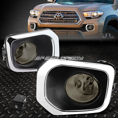 FOR 16-17 TOYOTA TACOMA SMOKED LENS BUMPER DRIVING FOG LIGHT LAMP W/BEZEL+SWITCH