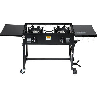 Dual Burner Stove Cooking Station Outdoor Camping Propane BBQ Grill 58,000BTU