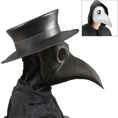 Black Plague Doctor Mask Birds Long Nose Beak Faux Leather Steampunk Halloween - Fake Black Birds Halloween