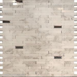steel carrara white marble stone mosaic tile backsplash kitchen