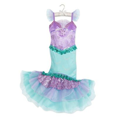 NWT Disney store Ariel Costume Dress Gown Singing Girls The Little Mermaid