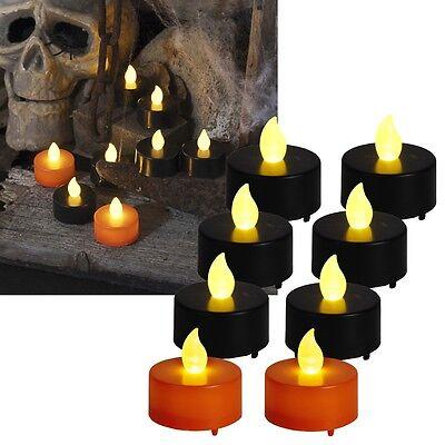 """8 tlg Set LED Teelicht """"Halloween"""" 38x38mm flackernd Kerze Candle LED-Kerzen ()"""