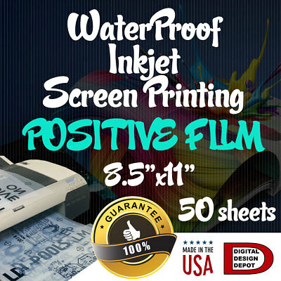 Waterproof Inkjet Transparency Film For Screen Printing 8.5 X 11 50 Sheets 1