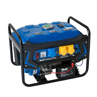 Wolf 3200w 110v 240v Dual Voltage 6.5HP 4KVA Petrol ELECTRIC START Generator