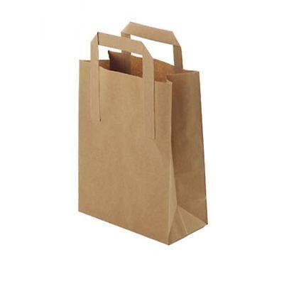 Brown Large SOS Paper Handle Food Sandwich Takeaway Carrier Bag 50