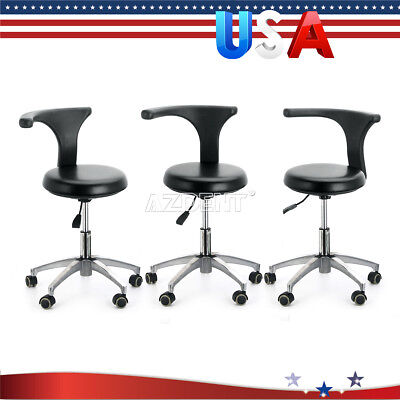 3x Dental Assistant Stool Adjustable Mobile Chair Pu Hard Leather Black New