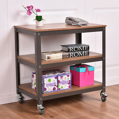 3 Tier Wood Metal Rolling Cart Storage Rack Shelves Display Utility Organizer