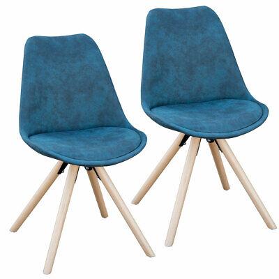 SVITA 2er Set Esszimmerstühle Küchenstühle Polsterstuhl Stühle Retro blau