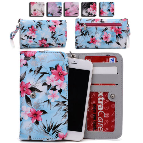 Womens Flower Pattern Wallet Case Cover for Smart Cell Phone