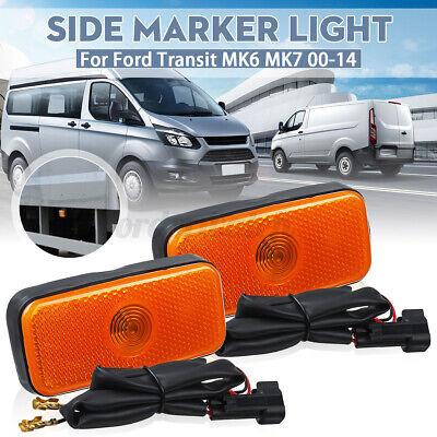 2X SIDE MARKER LAMP LIGHT + WIRING LOOM FOR FORD TRANSIT MK6 MK7 2000-2014