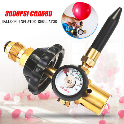 Balloon With Helium (Helium Latex Balloon Air Inflator Regulator With Gauge For CGA580 Tank Valves)