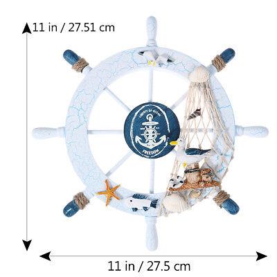 Wall Decor Nautical Beach Wooden Boat Ship Steering Wheel Fishing Net Shell - Nautical Decorations