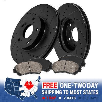 Front Black Drill Slot Brake Rotors & Ceramic Pads For Ford F250 F350 4WD 4X4