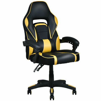 Executive Racing Style Pu Leather Gaming Chair High Back Recliner Office Yellow