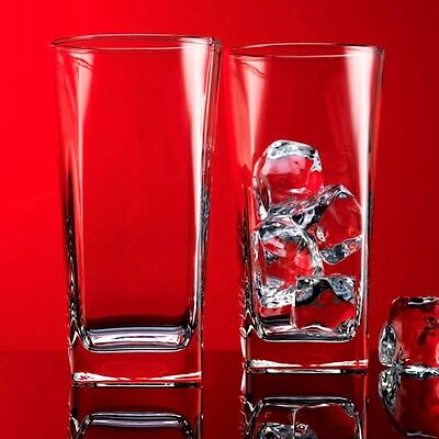 Home Essentials Square Highball Glasses, Red Series Drinkware, Set of 4 x 16 oz