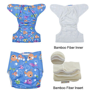 ALVABABY Bamboo Fiber Best Cloth Diapers Reusable Pocket Nappies + Bamboo