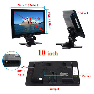 "10"" LCD Ultrathin Monitor Screen AV/RCA/VGA/HDMI Video for C"