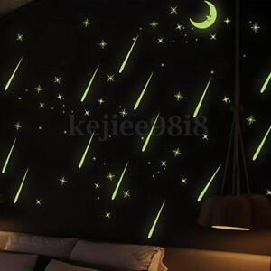 Moon Stars Glow In The Dark Luminous Fluorescent PVC Wall Stickers Home Decor