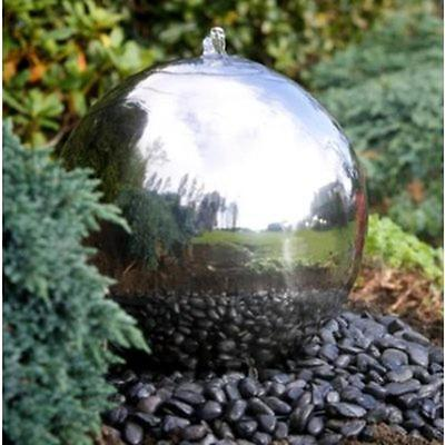 Large 50cm Polished Stainless Steel Sphere Garden Water Feature with LED Lights
