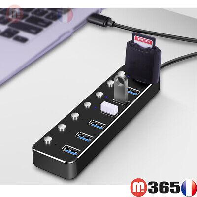 Hub usb 7 Ports Multiprise Chargeur Câble USB 3.0 en aluminium
