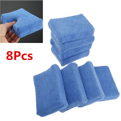 8Pcs Blue Microfiber Car Cleaning Sponge Cloths Hand Wax Polishing Buffing Pads