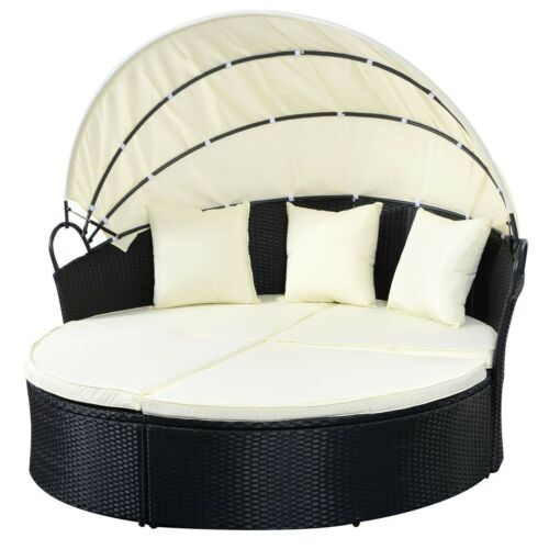 Garden Patio Sofa set Furniture Round Retractable Canopy Day