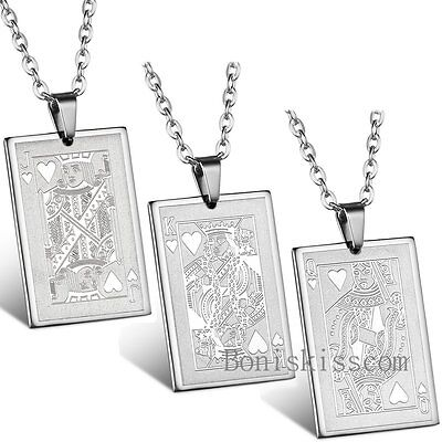 Mens Silver Stainless Steel Poker Playing Card Dog Tag Pendant Necklace Chain Mens Dog Tag Chains