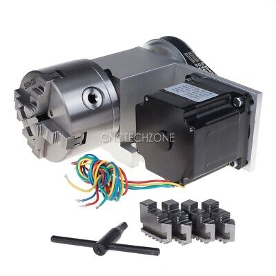 Cnc Router Rotary Axis Indexer 4th Axis 31 With 4-jaw Chuck 86 Stepper Motor
