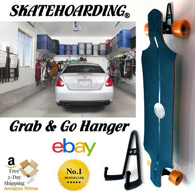 Skateboard Wall Hanger Rack Mount Modern Vintage Longboard Heavy Duty Stand