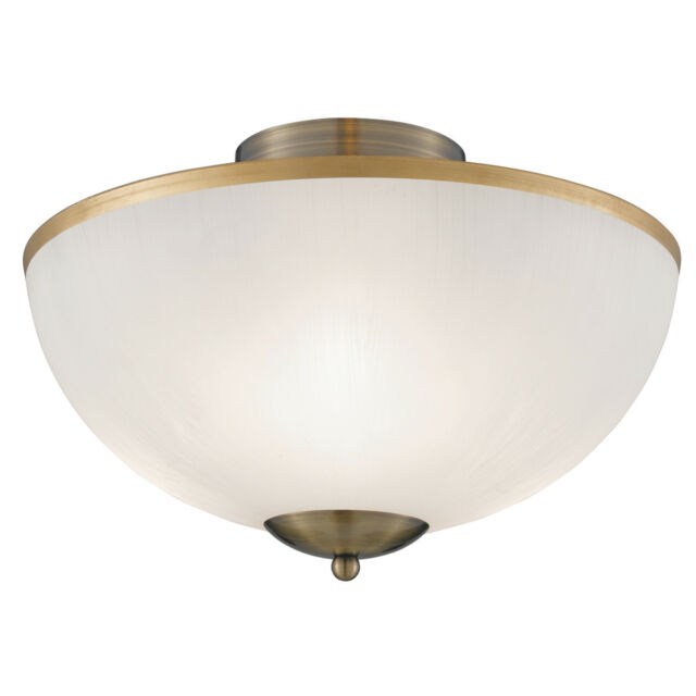 Searchlight 6580AB Antique Brass 3 Light Flush Fitting With Opal Glass Shade