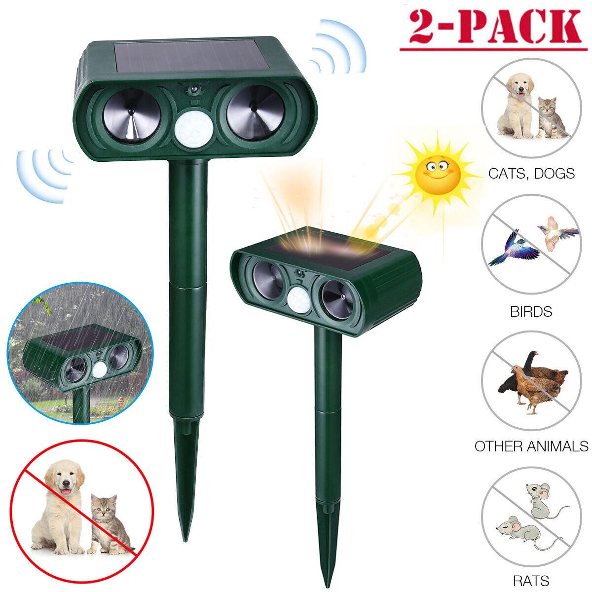 2× Solar Power Ultrasonic Animal Repeller Pest Repellent Ca