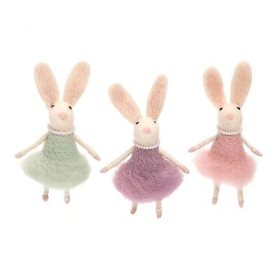 Debutante Bunny Wool Ornaments set of 3 So Cute New Easter Spring Decor - Bunny Ornaments