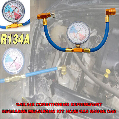 Car Air Conditioning Refrigerant Recharge Measuring Kit Hose Gas Gauge R134A NEW