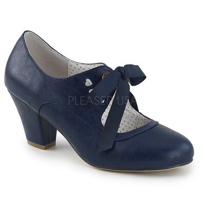 879a9e98f23 Pin Up Couture WIGGLE-32 Women s Navy Blue Faux Leather Heel Shoe Mary Jane  Pump