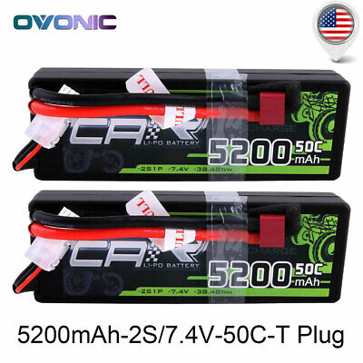 2X 50C 2S 5200mAh 7.4V Lipo Battery HardCase Deans Plug for RC Car Monster Truck ()