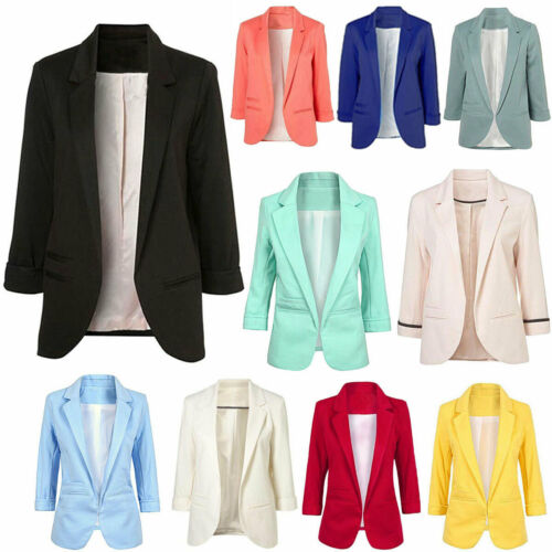 Womens Candy Fashion Casual Rolled Up 3/4 Sleeve Slim Office Blazer Jacket Suits Clothing, Shoes & Accessories