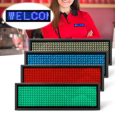 Led Mini Digital Programmable Scrolling Rechargeable Name Message Tag Badge Sign
