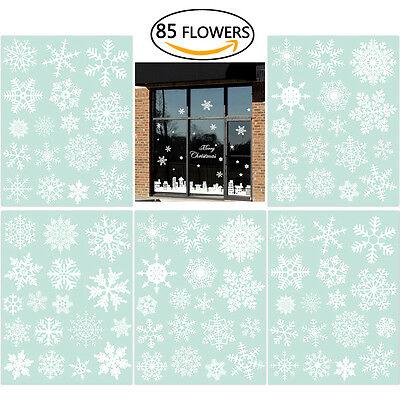 85pcs Snowflake Window Clings Christmas Window Decorations 33 Different Snowflak