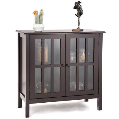 Buffet Server Sideboard - Storage Buffet Cabinet Glass Door Sideboard Console Table Server Display Brown