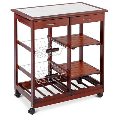 Kitchen Island Shelves - Rolling Wood Kitchen Trolley Cart Island Shelf w/ Storage Drawers Baskets New