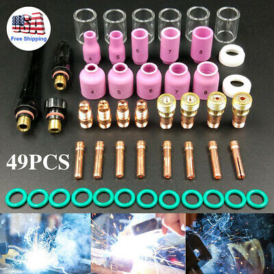 49 Tig Collet Back Cap Cup Kit For Wp 17 18 26 Series Welding Torch Consumables