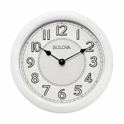 Bulova Wall Clock Versatile Bluetooth LED Lighted Silver Dial White Case C4842