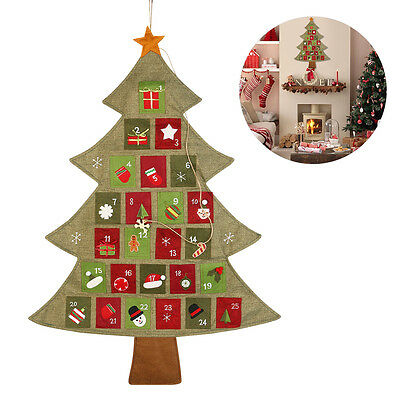 Christmas Advent Calendar Countdown Xmas Decoration Fabric Pockets 2017 New Year