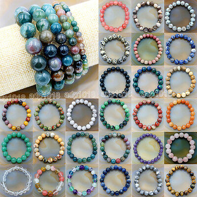 Beads - Wholesale Natural Gemstone Beads Stretch Bracelet Healing Reiki 4,6,8,10,12mm