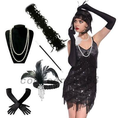 Retro 1920s Kostüm Damen Flapper Accessoires 20er Jahre Halloween (Flapper Kostüm Accessoires)