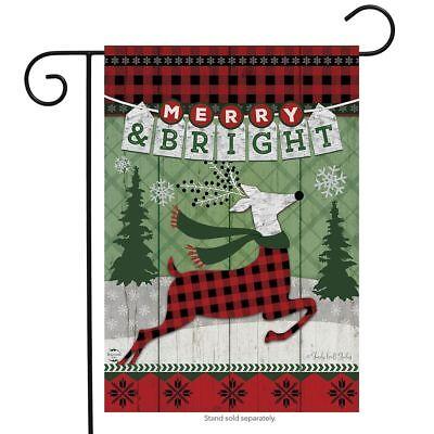 Merry & Bright Reindeer Christmas Garden Flag Primitive Holi