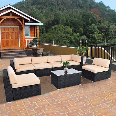 7 PCS Out of doors Patio Sofa Set Furniture Wicker Rattan Deck Couch W/Brown Absorb