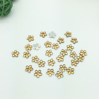 New Diy 100pcs 10MM amber Flower Flatback Resin Scrapbooking for Phone/Craft F06