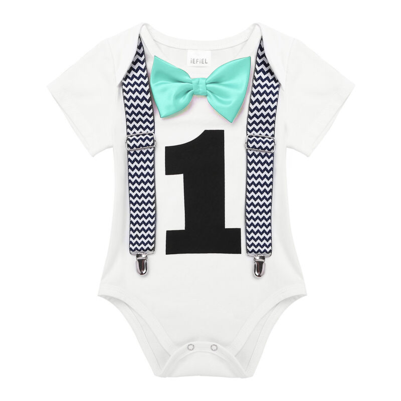 Infant Baby Boy First 1st Birthday Outfit Romper One Year Bodysuit Cake Smash