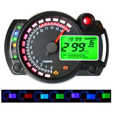 7 COLORS LCD DIGITAL MOTORCYCLE SPEEDOMETER TACHOMETER ODOMETER GAUGE